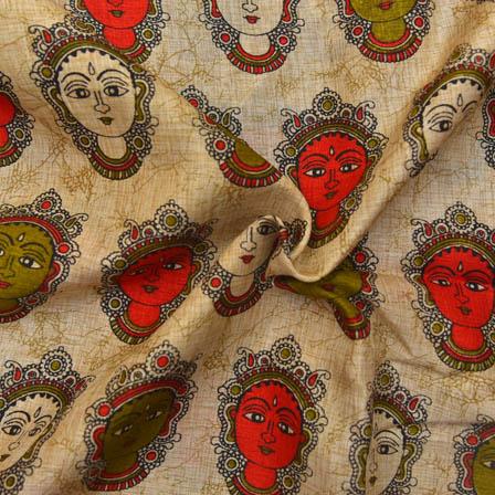 Cream-Green and Red Durga Devi Design Kalamkari Manipuri Silk-16049