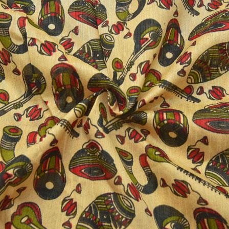 Cream-Green and Red Musical Instruments Pattern Kalamkari Manipuri Silk-16071
