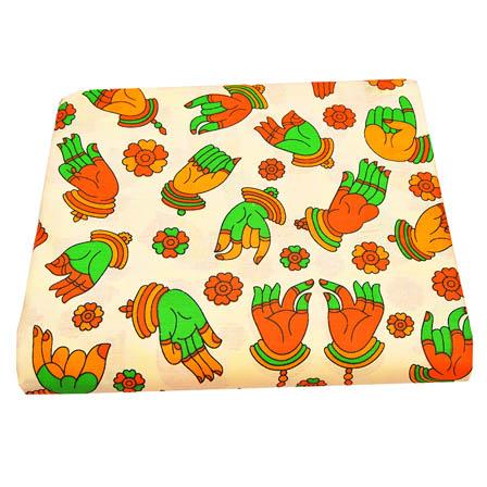 Cream-Green and Yellow Hand Mudra Design Kalamkari Cotton Fabric-5804