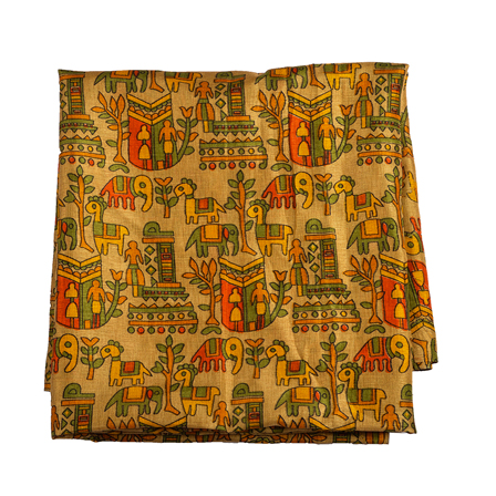 Cream-Green and Yellow Kalamkari Manipuri Silk Fabric-16306