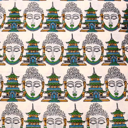 Cream-Green and yellow Buddha Face Kalamkari Cotton Fabric-5565