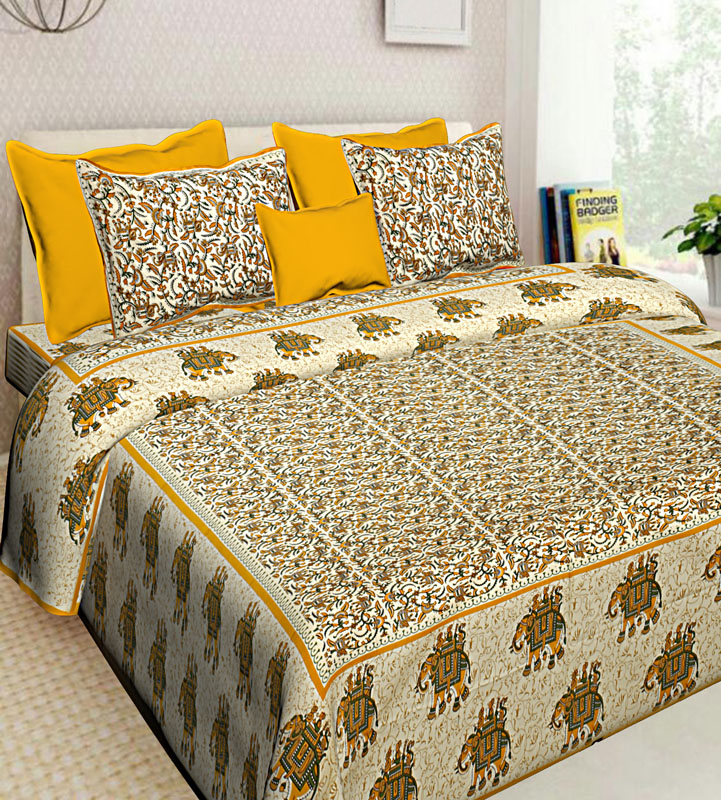 Cream Lemon yellow Cotton Jaipuri Bedsheet-638