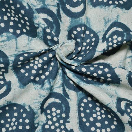 Cream-Light Green and White Circular Pattern Dabu Block Fabric-14012