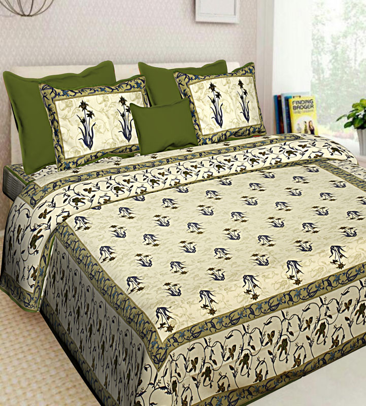 Cream Mahendi Green Cotton Jaipuri Bedsheet-632