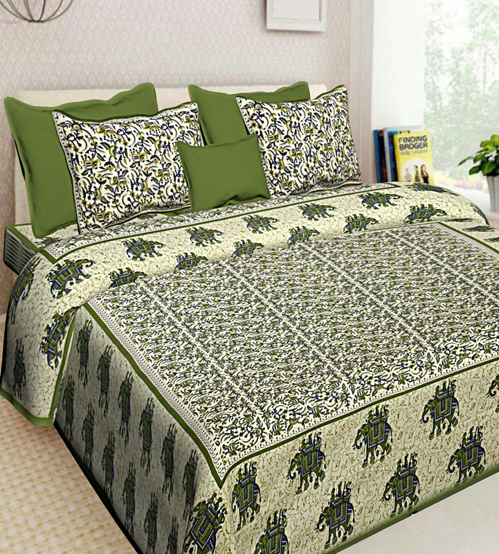 Cream Mahendi Green Cotton Jaipuri Bedsheet-639
