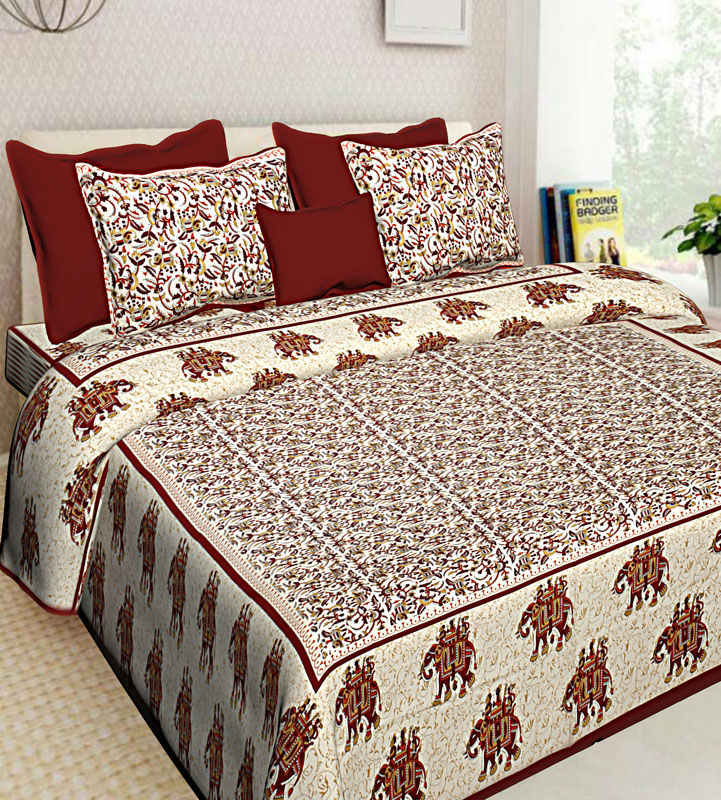 Cream Maroon Cotton Jaipuri Bedsheet-640