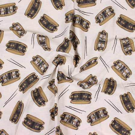 Cream Maroon and Black Musical Instrument Print Cotton Flex Fabric-15158