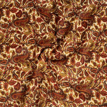 Cream-Maroon and Yellow Paisley Pattern Kalamkari Manipuri Silk Fabric-16273
