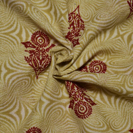 Cream- Mustard Yellow and Red Flower Design Block Print Fabric-14058