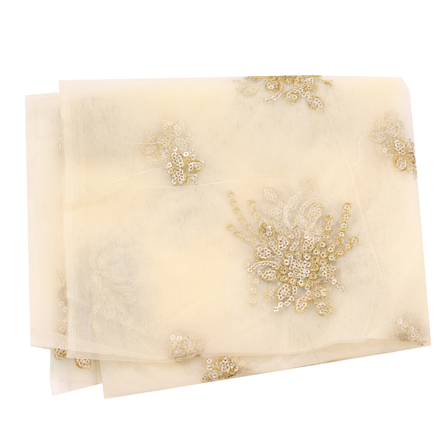 Cream Net Base Fabric With Golden Floral Embroidery-60081