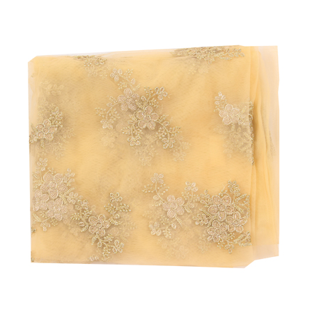 Cream Net Base Fabric With Golden Floral Embroidery-60092