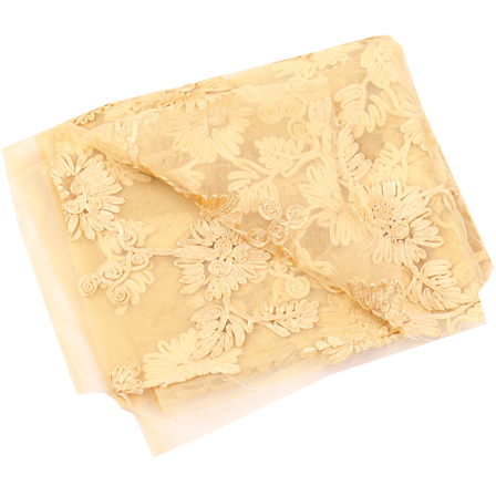 Cream Net Base Fabric With Golden Flower Embroidery-60110