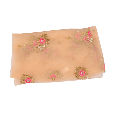 Cream Net Base Fabric with Golden and Pink Floral Embroidery -60508