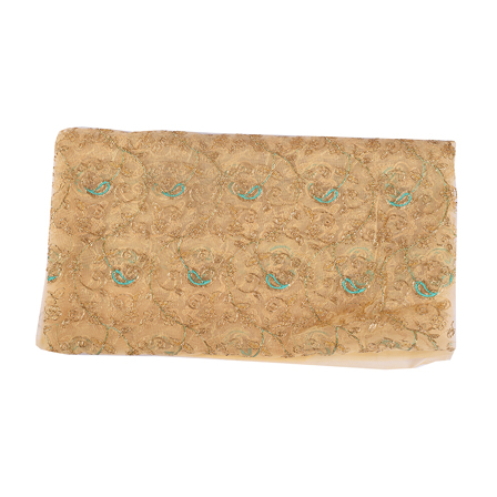 Cream Net Fabric With Golden and Green Paisley Embroidery-60539