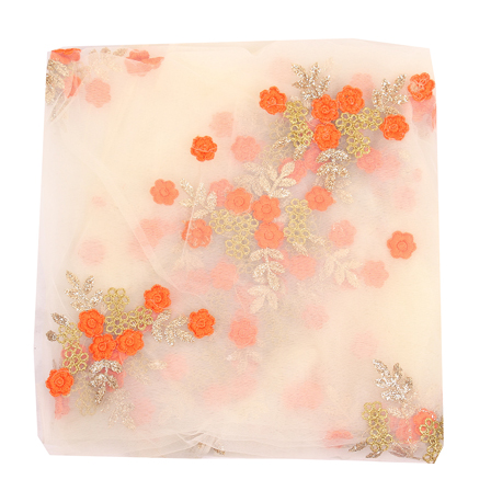 Cream Net Fabric With Orange and Golden Flower Embroidery-60834