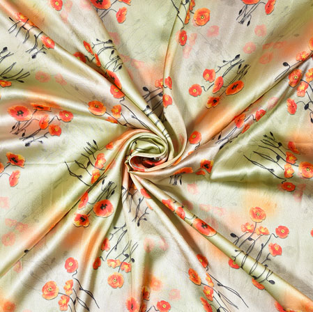Cream Orange Digital Flower Print Georgette Fabric-41187