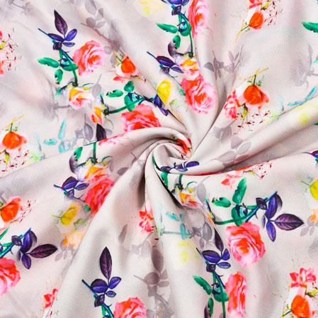 Cream Orange Floral Crepe Silk Fabric-41011