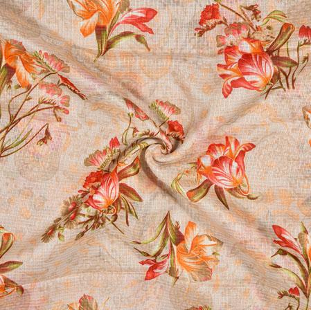 Cream Orange Floral Kota Doria Fabric-42521