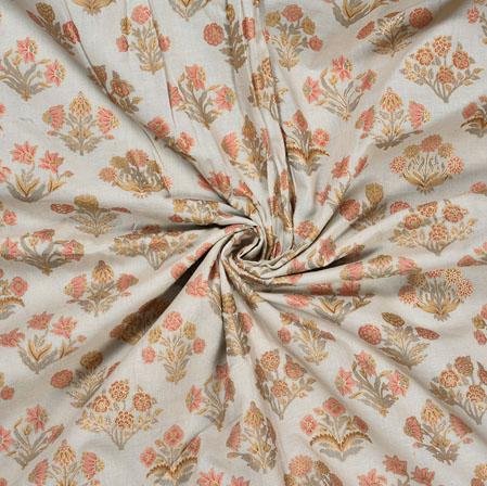 Cream Orange Flower Cotton Foil Print Fabric-28318