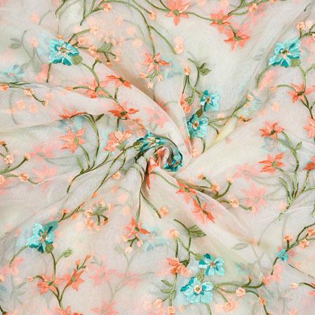 Cream Orange Flower Organza Embroidery Fabric-22244