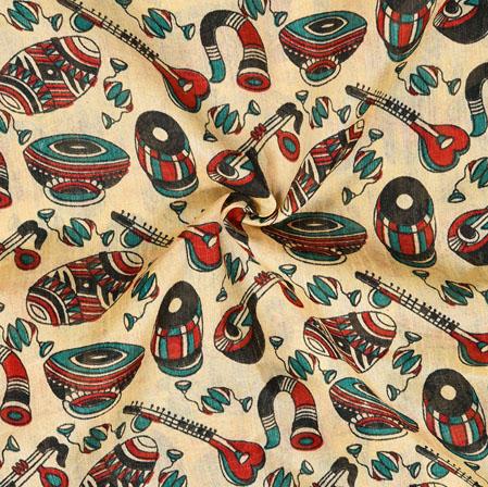 Cream Orange Musical-Instrument Print Manipuri-Silk Fabric-18047