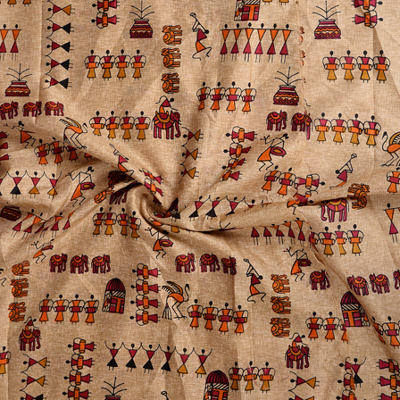 Cream-Orange and Black Warli Kalamkari Manipuri Silk Fabric-16345
