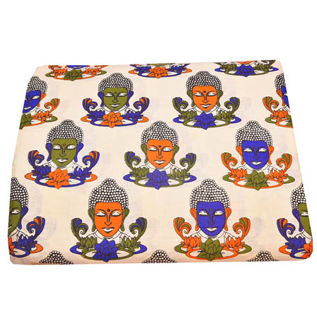 Cream-Orange and Blue Buddha Design Kalamkari Cotton Fabric-5787