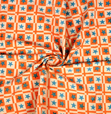 Cream-Orange and Blue Star Design Cotton Block Print Fabric-14353