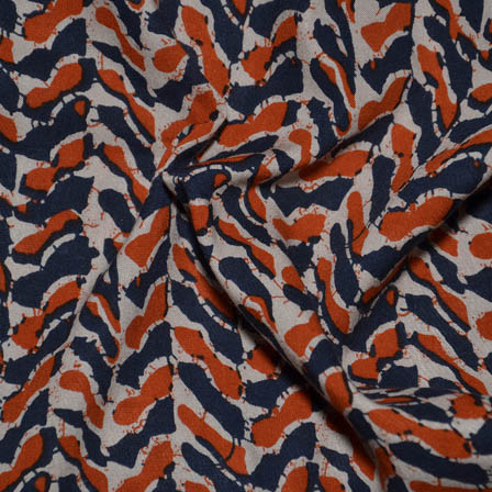 Cream-Orange and Blue Unique Shape Rayon Fabric-15015