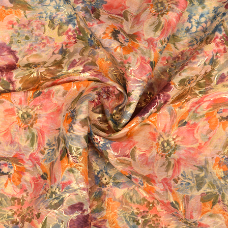 Cream-Orange and Golden Floral Design Silk Organza Fabric-50021
