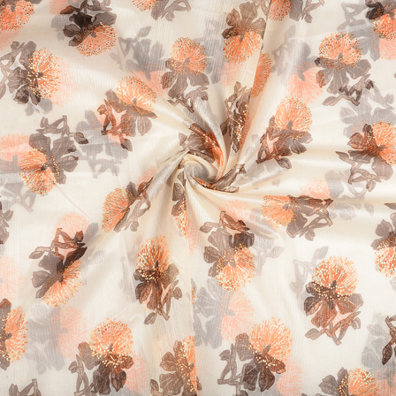 Cream-Orange and Golden Floral Organza Print Fabric-51282