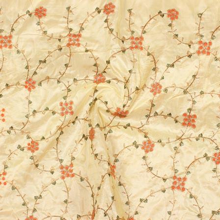 Cream Orange and Golden Jalbari Embroidery Silk Fabric-61058