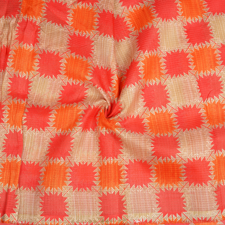 Cream-Orange and Golden Kota Doria Fabric-25092
