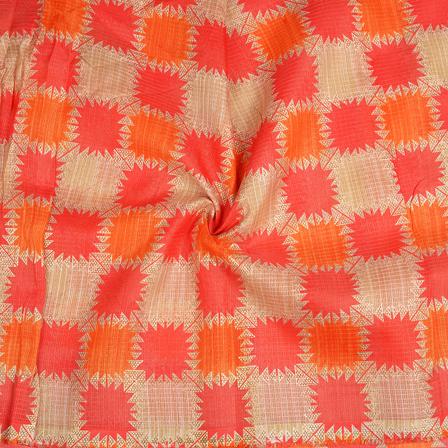 Cream-Orange and Golden Kota Doria Fabric-25092