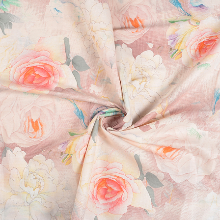 Cream-Orange and Gray Flower Design Jam Cotton Silk Fabric-75066