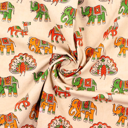 Cream-Orange and Green Elephant Kalamkari Cotton Fabric-10187