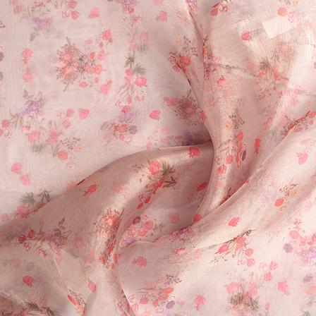 Cream-Orange and Green Floral Digital Organza Fabric-51220