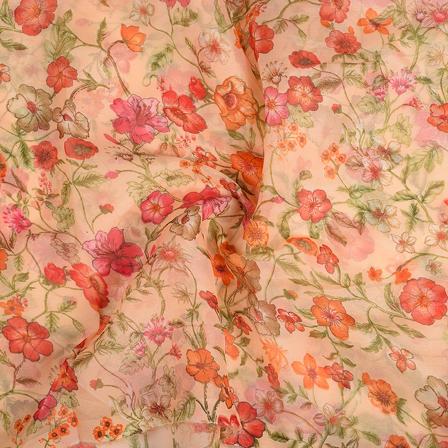 Cream-Orange and Green Flower Silk Organza Fabric-51120
