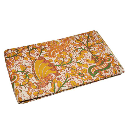 Cream-Orange and Green Peacock Shape Kalamkari Fabric-5771