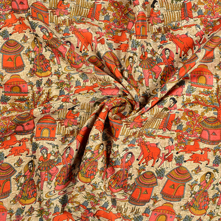 Cream-Orange and Pink Design Kalamkari Manipuri Silk Fabric-16236