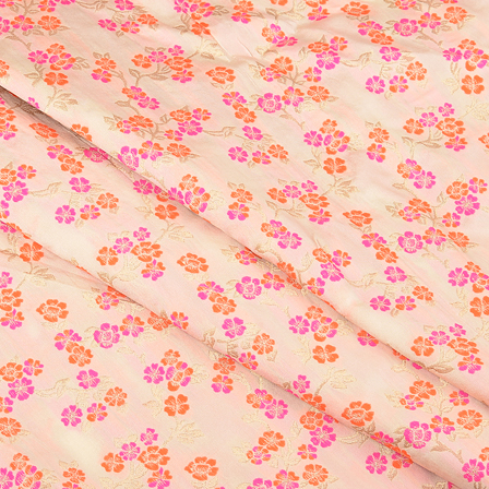 Cream-Orange and Pink Floral Digital Brocade Fabric-24077