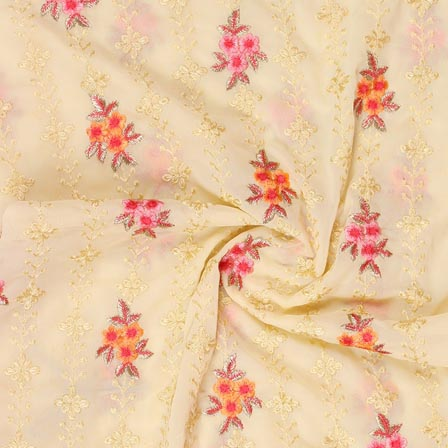 Cream Orange and Pink Floral Print Fox Georgette Embroidery Fabric-15293