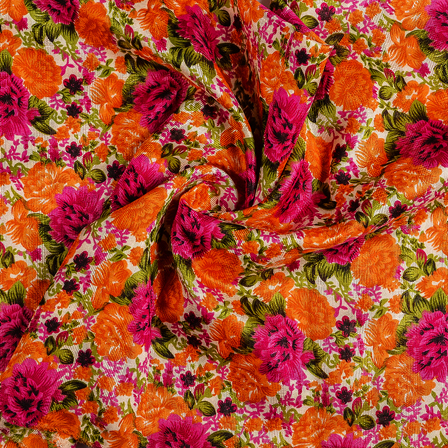 Cream-Orange and Pink Flower Banglori Silk Fabric-37007
