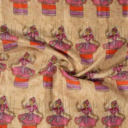 Cream-Orange and Purple Dancing Mudra Design Kalamkari Manipuri Silk Fabric-16278