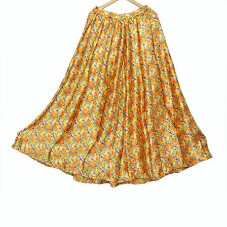 Cream-Orange and Purple Flower Design Satin Skirt-23012