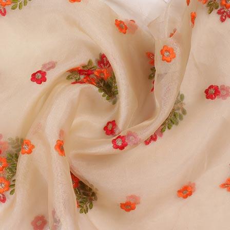 Cream Orange and Red Embroidery Organza Silk Fabric-51621