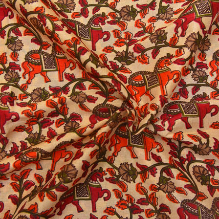 Cream-Orange and Red Horse Design Kalamkari Manipuri Silk-16065