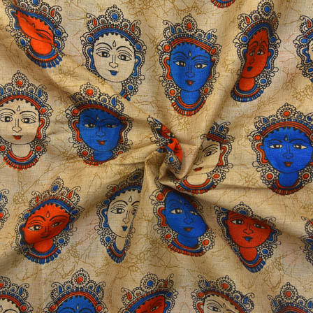 Cream-Orange and Sky Blue Durga Devi Design Kalamkari Manipuri Silk-16050
