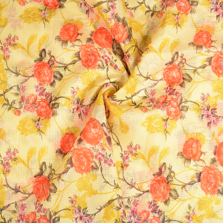Cream-Orange and Yellow Flower Kota Doria Fabric-25116