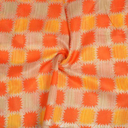 Cream-Orange and Yellow Kota Doria Fabric-25091